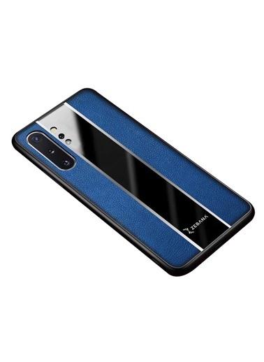 MobilCadde Mobil Cadde Zebana Samsung Galaxy Note 10 Plus Premium Deri Kılıf Mavi